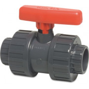 Mega PVC Kugelhahn mit zwei Verschraubungen, Typ Safe 600 - 50 mm