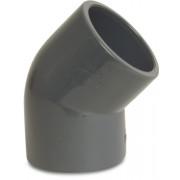 Mega Winkel 45° PVC-U 50 mm Klebemuffe 16bar Grau