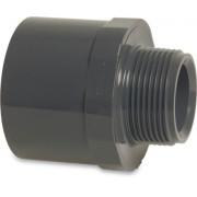 "Mega Übergangsnippel PVC-U 50/63 mm x 2"" Klebemuffe/Klebestutzen x Außengewinde 10bar Grau"