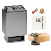 EOS 34.A Saunaofen Edelstahl-blank 9 kW mit EOS Econ D1 time4wellness Saunasteuerung und Steine