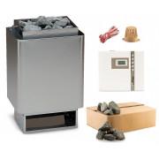 EOS 34.A Saunaofen Edelstahl-blank 6 kW mit EOS Econ D1 time4wellness Saunasteuerung und Steine