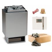 EOS 34.A Saunaofen Edelstahl-blank 6 kW mit EOS Econ D2 time4wellness Saunasteuerung und Steine