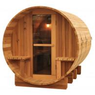 Saunafass Borkum mit Vordach Zeder Astfrei