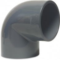 Mega Winkel 90° PVC-U 50 mm Klebemuffe 16bar Grau