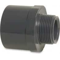 "Mega Übergangsnippel PVC-U 50/63 mm x 1 1/2"" Klebemuffe/Klebestutzen x Außengewinde 10bar Grau"