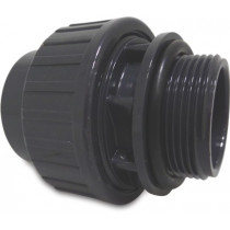 "Mega Verschraubung Mit O-Ring PVC-U 50 mm x 1 1/2"" Klebemuffe x Außengewinde 10bar Grau"