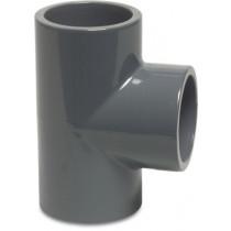 Mega T-Stück 90° PVC-U 50 mm Klebemuffe 16bar Grau