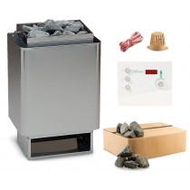 EOS 34.A Saunaofen Edelstahl-blnk 6 kW mit Sentiotec K2 time4wellness Saunasteuerung und Steine